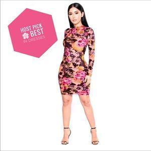 Long Sleeve Floral Stretch Bodycon Plus Midi Dress